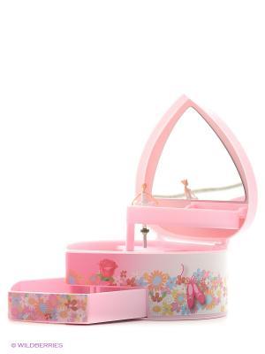 Шкатулка музыкальная с фигуркой автоматическая в форме сердца Jakos. Цвет: розовый, фиолетовый, красный