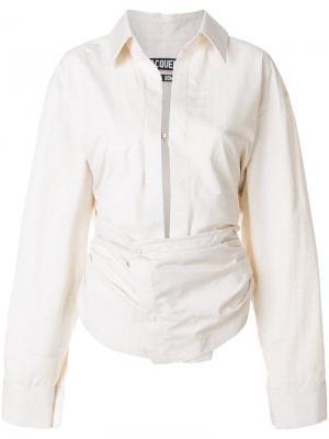 Рубашка с глубоким вырезом Jacquemus. Цвет: телесный