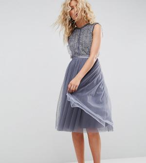 Needle & Thread Тюлевое платье миди с отделкой. Цвет: синий