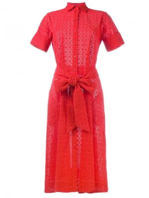 Платье-рубашка с поясом Lisa Marie Fernandez. Цвет: красный
