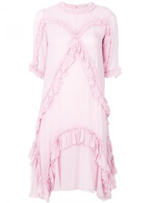 Платье шифт с плиссировкой Ulla Johnson. Цвет: розовый и фиолетовый
