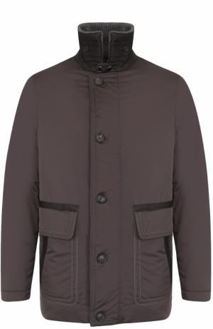 Куртка на молнии с воротником-стойкой Cortigiani. Цвет: серый
