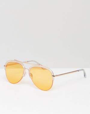 South Beach Солнцезащитные очки в полуоправе со стеклами персикового цвета B. Цвет: оранжевый