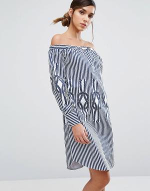 Closet London Полосатое платье мини с открытыми плечами. Цвет: мульти