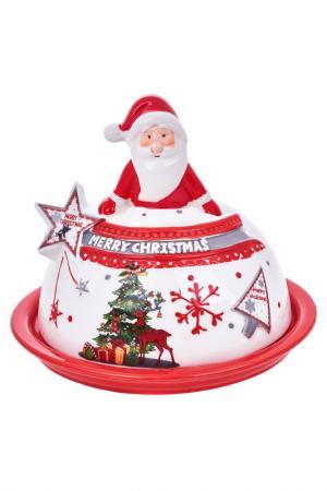 Новогоднее блюдо с крышкой DUE ESSE CHRISTMAS. Цвет: красный, белый
