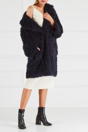 Пальто из фактурной ткани Chapurin. Цвет: темно-синий