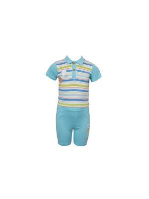 Комплект одежды WWW. Цвет: синий, зеленый, белый