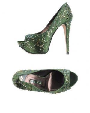 Туфли GINA. Цвет: зеленый