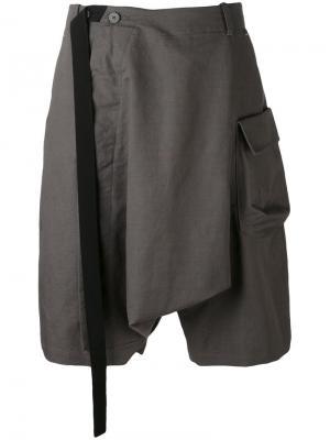 Драпированные шорты свободного кроя Tom Rebl. Цвет: серый
