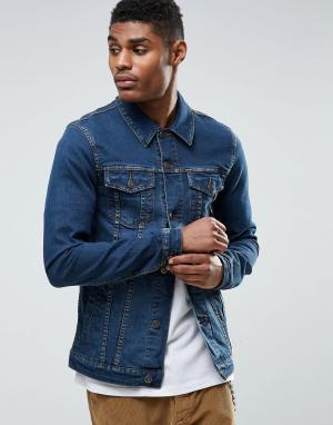 ASOS Синяя выбеленная джинсовая куртка суперузкого кроя. Цвет: синий