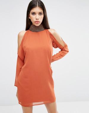 ASOS Платье мини с длинными рукавами. Цвет: оранжевый
