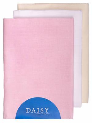 Пеленка Хлопок розовая 3 шт. DAISY. Цвет: розовый, белый, бежевый