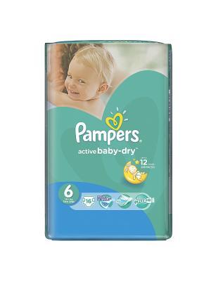 Подгузники Active Baby-Dry 15+ кг, 6 размер, 16 шт. Pampers. Цвет: зеленый