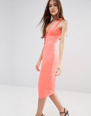 Hedonia Платье-футляр миди с кружевом. Цвет: оранжевый