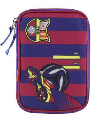 Пенал с канцтоварами цвета FC Barcelona Барселона Target. Цвет: синий,красный