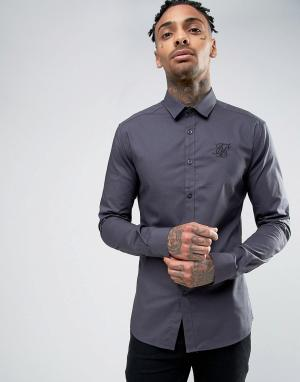 SikSilk Суперузкая рубашка. Цвет: серый