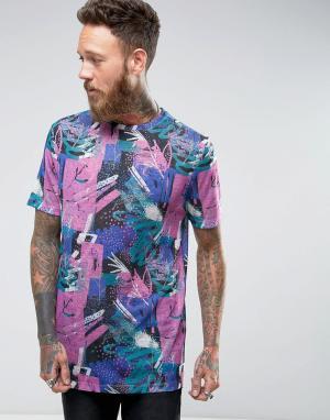 ASOS Длинная футболка с принтом. Цвет: фиолетовый