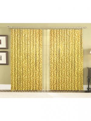 Шторы комплект Viktoria золотой 140*270+тюль300*270 +/-2% МарТекс. Цвет: горчичный, золотистый, персиковый