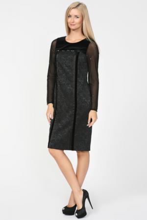 Строгое платье с прозрачными рукавами Elisa Fanti. Цвет: черный