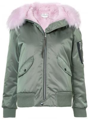 Куртка Jenny с отделкой кроличьим мехом Sam.. Цвет: зелёный