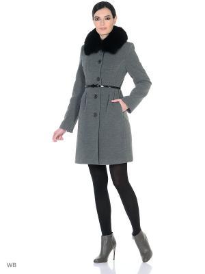 Пальто зимнее Лаурита песец XP-GROUP. Цвет: серый