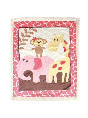 Плед Друзья-сафари Luvable Friends. Цвет: розовый, белый