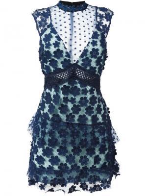 Короткое платье с цветочной вышивкой Self-Portrait. Цвет: синий