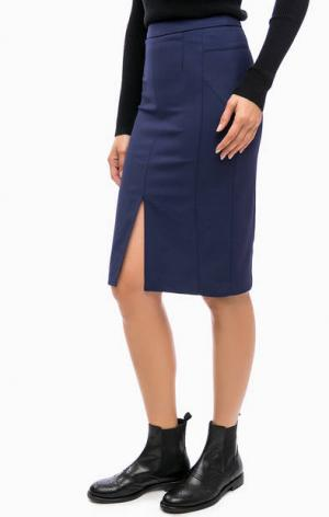 Синяя юбка-карандаш с разрезом спереди Kocca. Цвет: синий