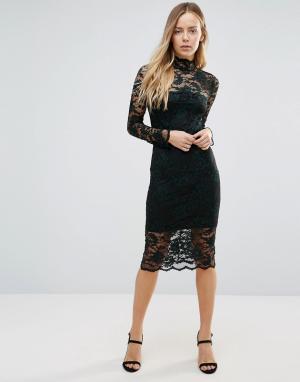 Ganni Кружевное полупрозрачное платье миди Flynn. Цвет: зеленый