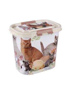 Контейнер Cats для корма 10л Альтернатива. Цвет: бежевый
