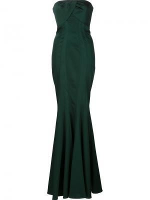 Длинное платье Loretta Zac Posen. Цвет: зелёный