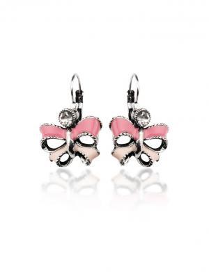 Серьги Розовые бантики Chocopony. Цвет: розовый, серебристый