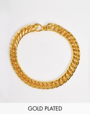 Mordekai Ожерелье-цепочка под горло с покрытием из 24-каратного золота. Цвет: золотой