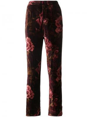 Бархатные брюки с цветочным узором F.R.S For Restless Sleepers. Цвет: красный
