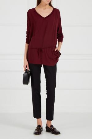 Блузка с трикотажной спинкой бордовая Adolfo Dominguez. Цвет: красный