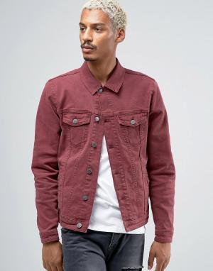 ASOS Бордовая джинсовая куртка скинни. Цвет: красный