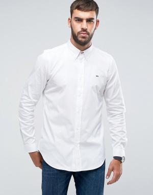 PS Paul Smith Белая оксфордская рубашка с логотипом на груди. Цвет: белый