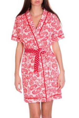 Халат-кимоно короткий Rose&Petal Homewear. Цвет: белый горошек, огурцы