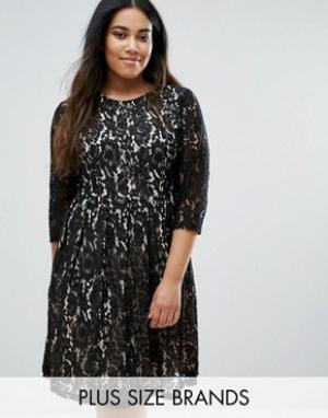 Praslin Кружевное приталенное платье Plus. Цвет: черный