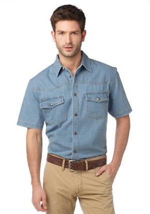 Arizona, джинсовая рубашка ARIZONA. Цвет: синий выбеленный