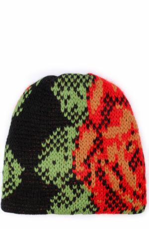 Вязаная шапка из шерсти Tak.Ori. Цвет: красный