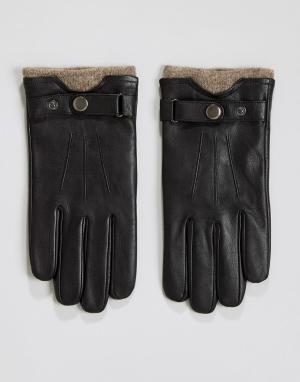 Peter Werth Кожаные перчатки с шерстяными манжетами. Цвет: черный