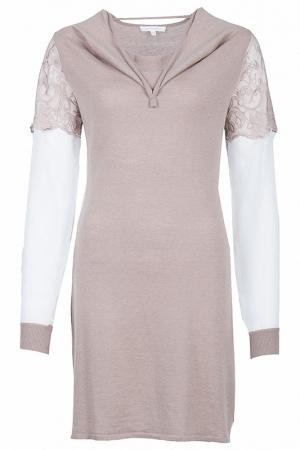 Утепленное платье с длинными рукавами Patrizia Pepe. Цвет: бежевый