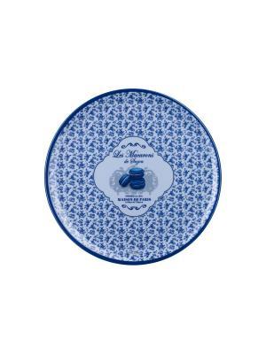 Поднос кухонный круглый ?36 см,  Миндальное печенье Сюзанны Orval. Цвет: синий, белый