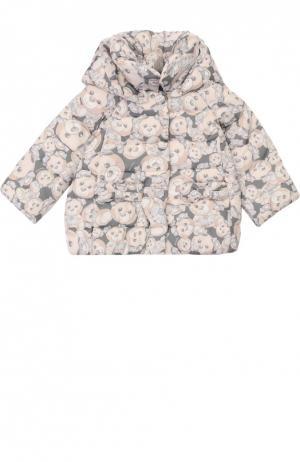Куртка с капюшоном Monnalisa. Цвет: серый