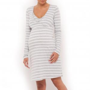 Рубашка ночная для беременных и кормящих COCOON. Цвет: серый/белый в полоску