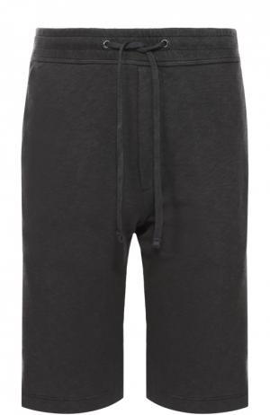 Хлопковые шорты с заниженной линией шага James Perse. Цвет: темно-серый