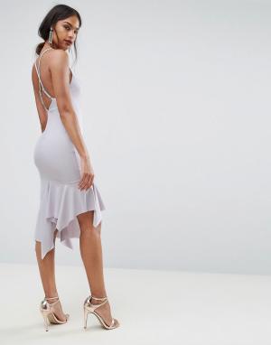ASOS Креповое платье миди с асимметричным краем и перекрестами на спине ASO. Цвет: фиолетовый
