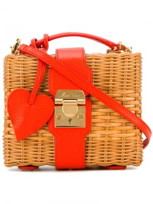 Straw box bag Mark Cross. Цвет: коричневый