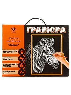 Набор для создания гравюры Зебра 30х40см Фабрика Фантазий. Цвет: серый